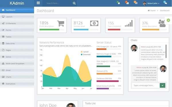 KAdmin Free Responsive Admin Dashboard Template Momentier - Email dashboard template